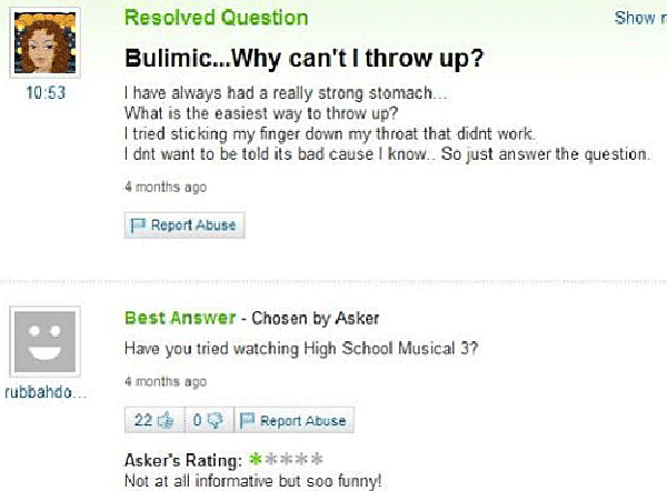 Unhelpful Yahoo Answers