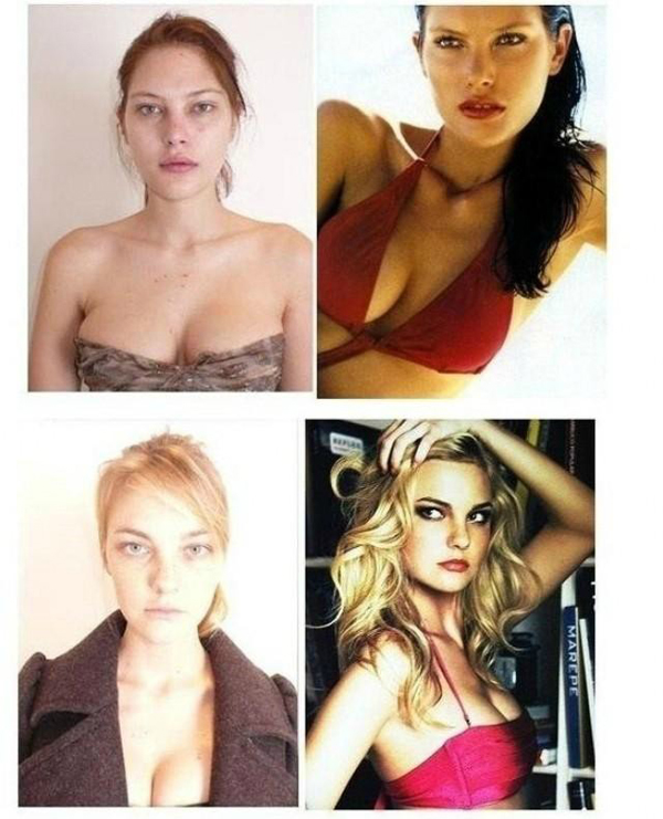 models with and without makeup