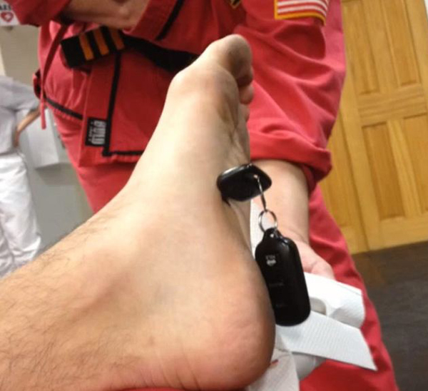 guy gets key stuck in foot