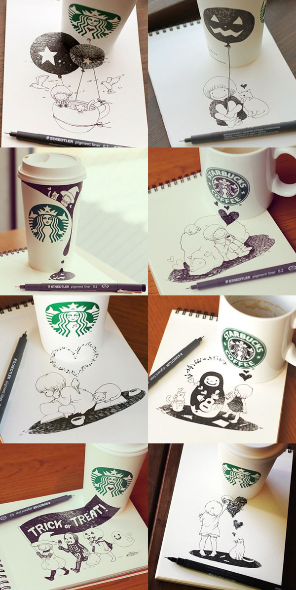 cool starbucks cup art