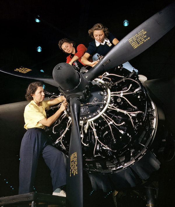 world war 2 women working restored in color