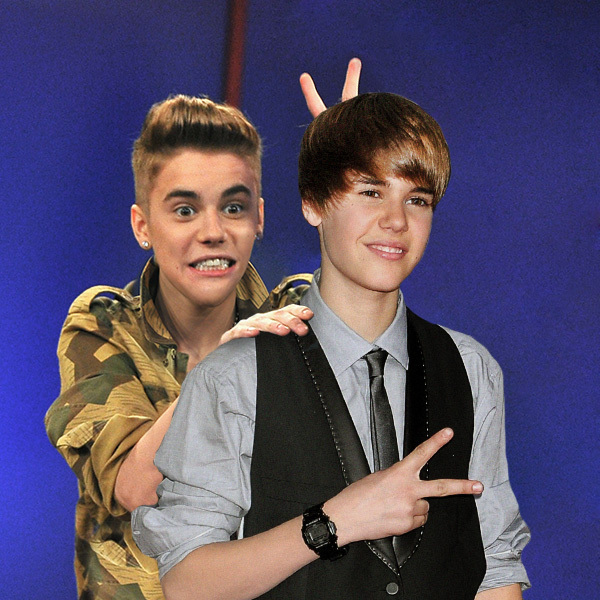 Celebrities Posing With Younger Versions Of Themselves-Justin Bieber