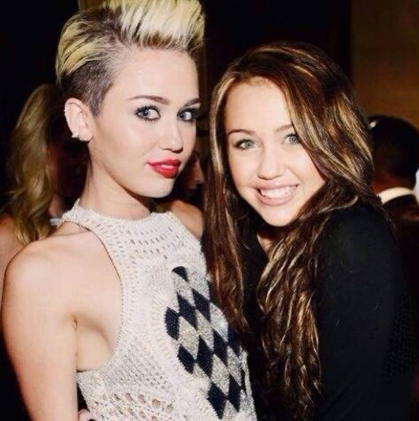 Celebrities Posing With Younger Versions Of Themselves-Miley Cyrus