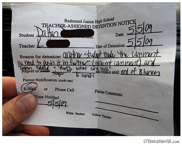 funny detention slip