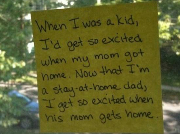 post-it notes left by dad