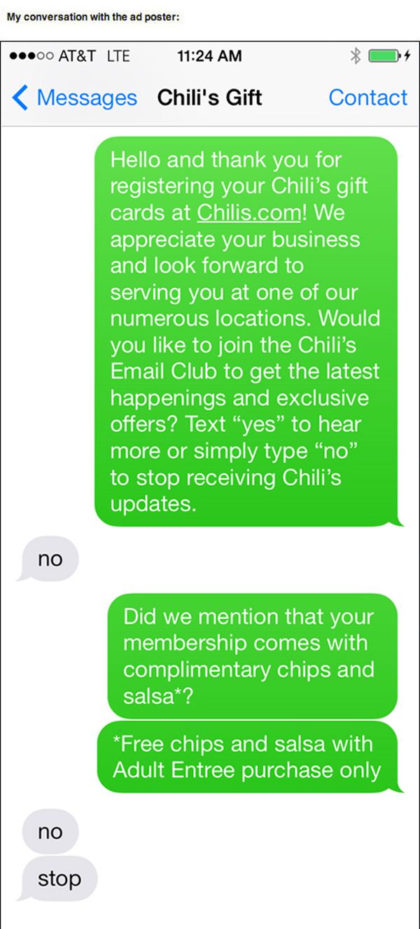 chili's text trolling