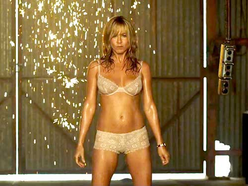 Jennifer Aniston stripping in a scene from We're the Millers