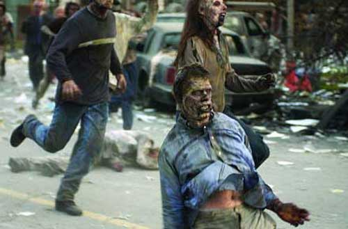 zombies racing down the street in Dawn of the Dead remake