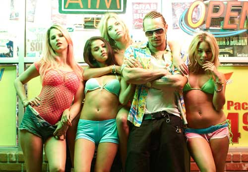 the cast of Spring Breakers featuring James Franco