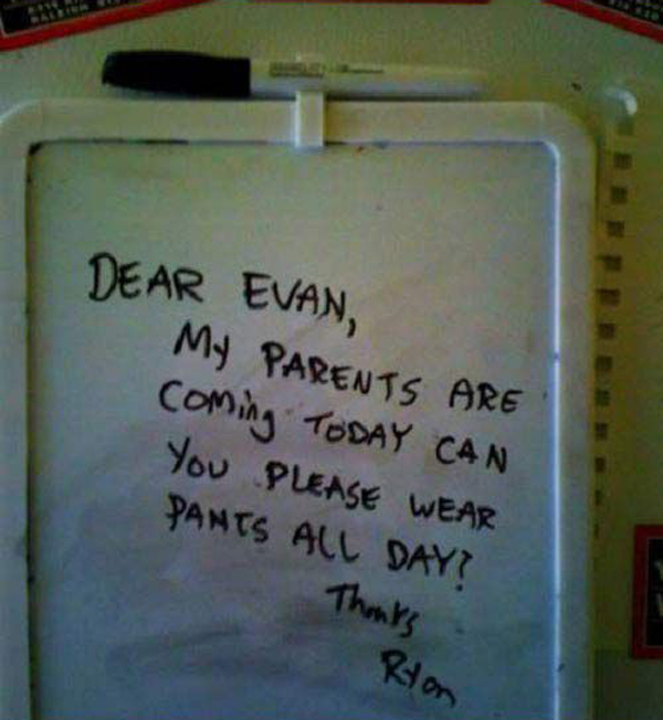 funny roommmate note