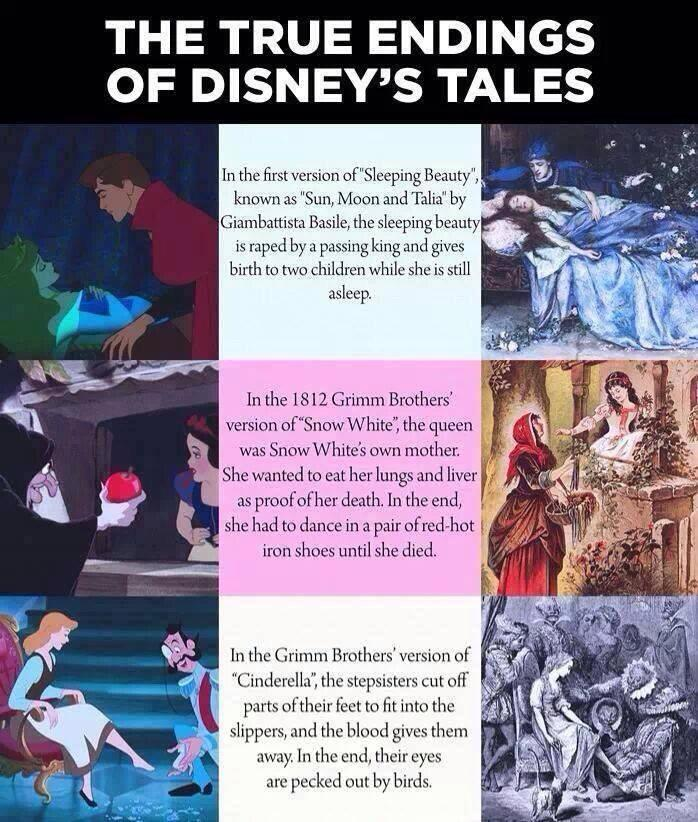 true endings of disney fairytales