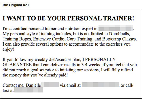 personal trainer text trolling