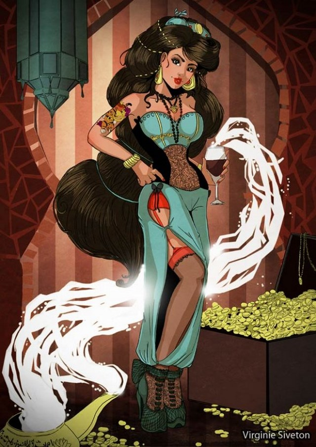 girls as pin up Disney princesses