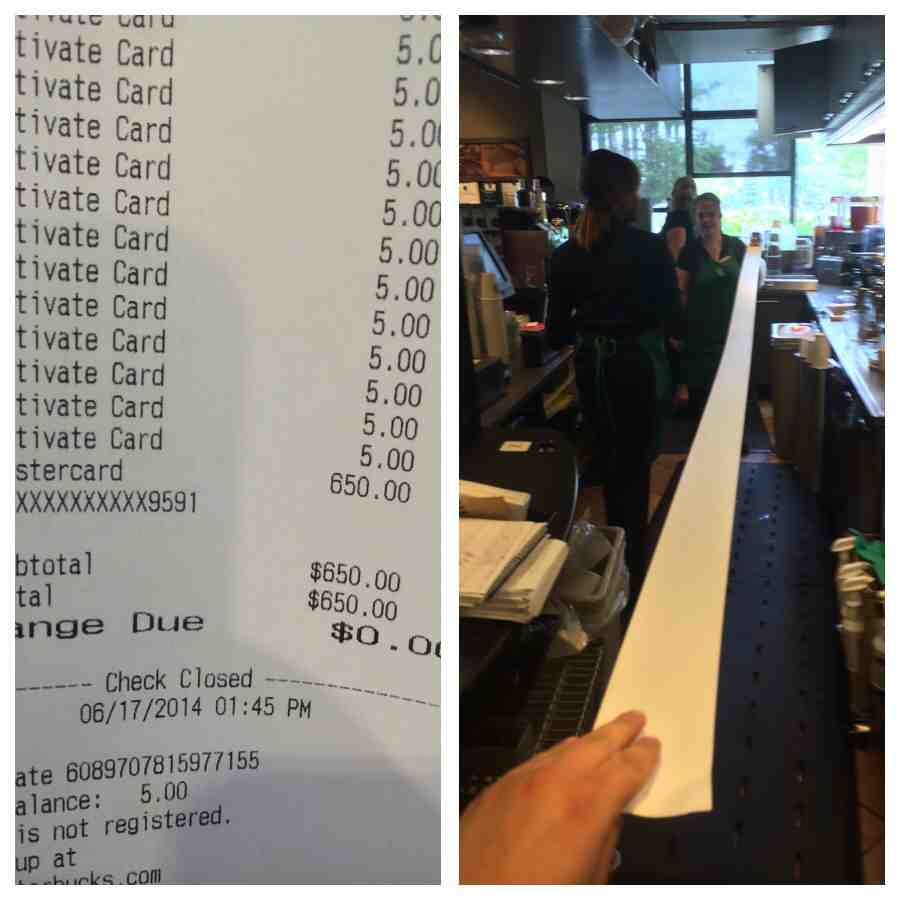 A Ridiculously Long Starbucks Receipt