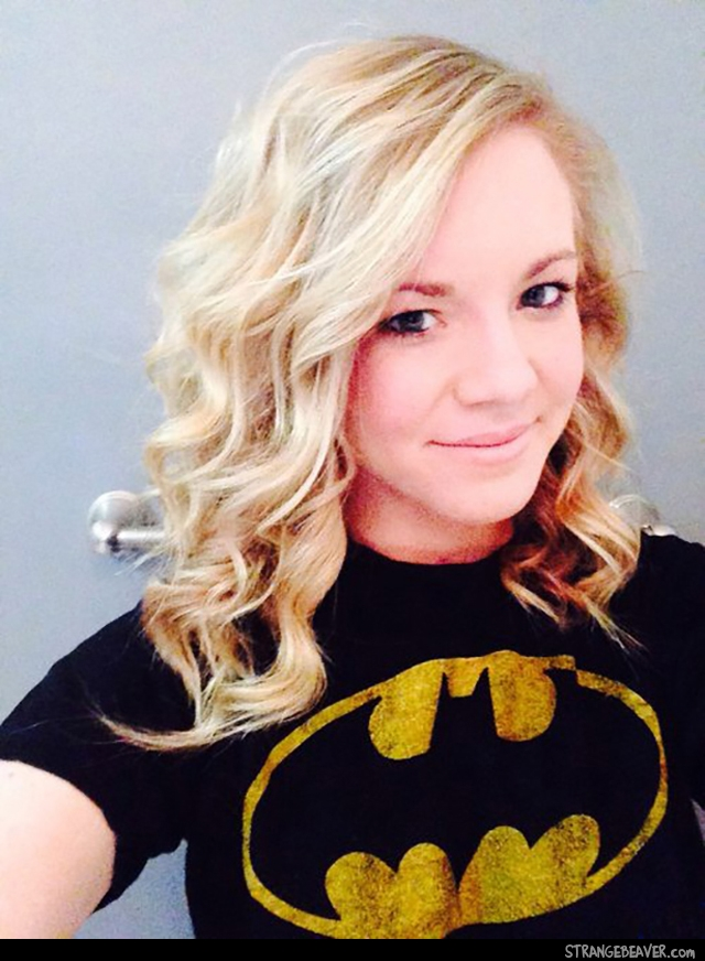 Cute girl wearing Batman clothes
