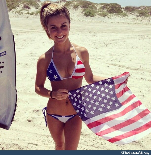 Girl Wearing the American Flag