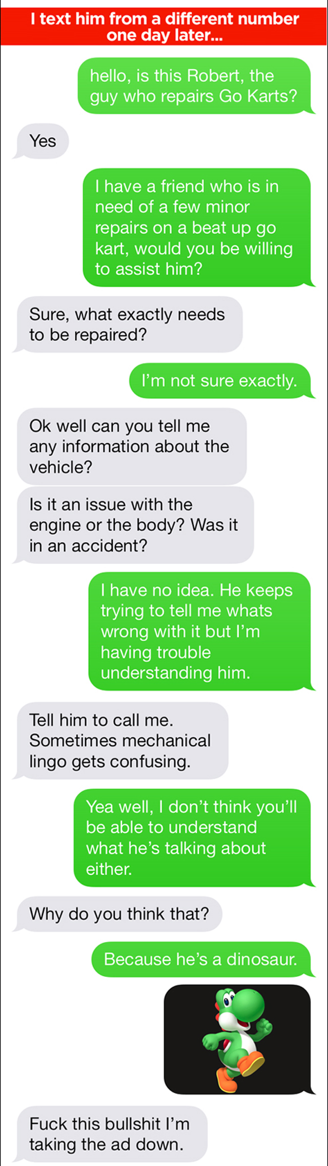 Go-Kart repairman text troll