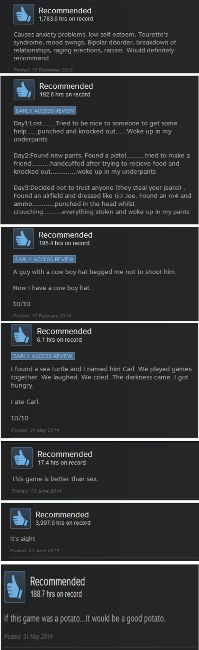 Funny Steam reviews