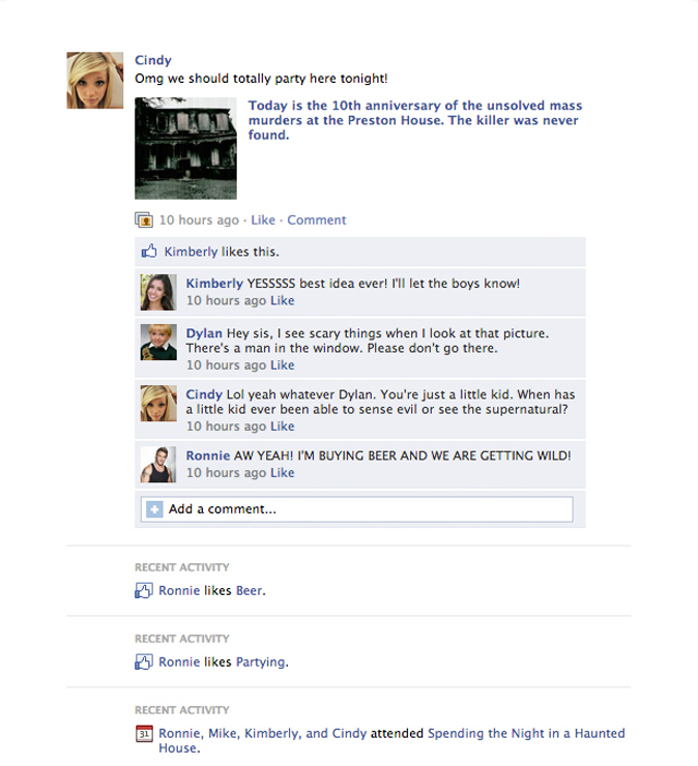 If horror movies took place on facebook