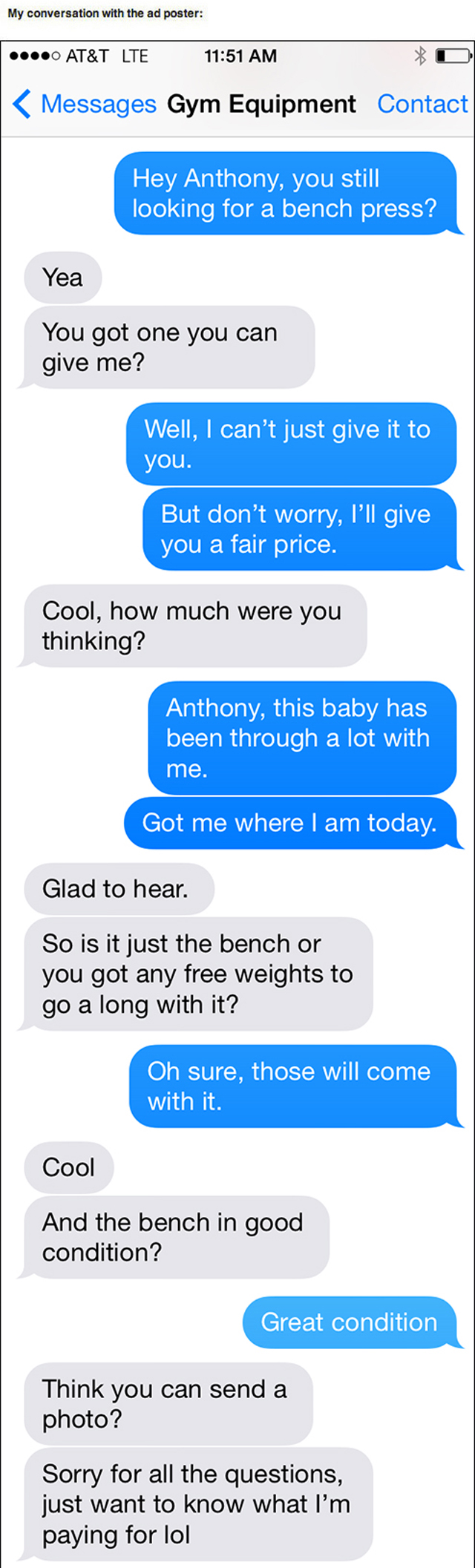 text trolling for gym equipment