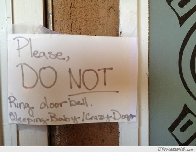 Funny note on front door