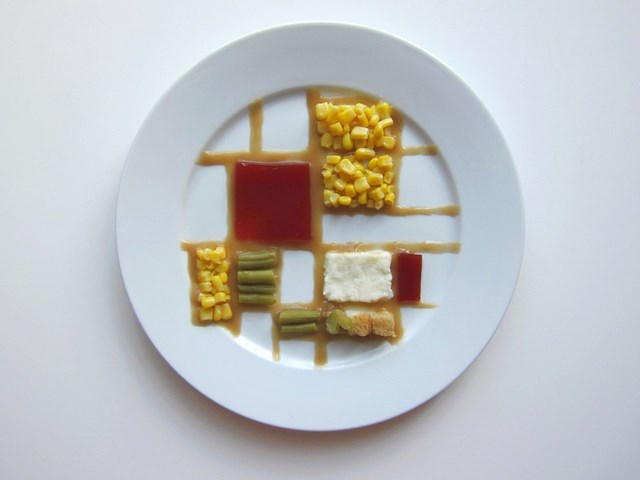 What Thanksgiving Dinner would look like if it was prepared by a famous artist- Piet Mondrian
