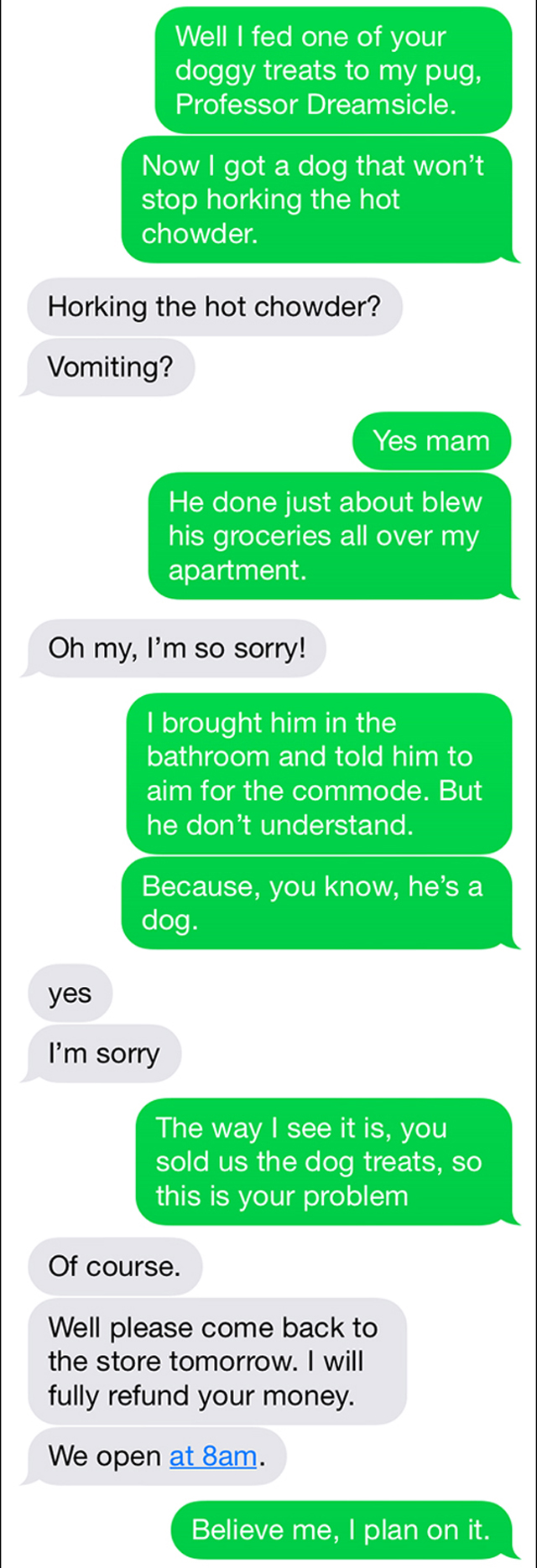 Text Trolling The Pet Store Owner
