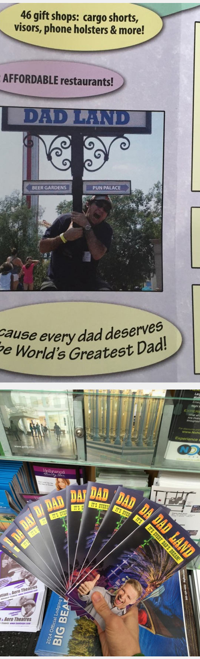 Dad Land Brochure Prank