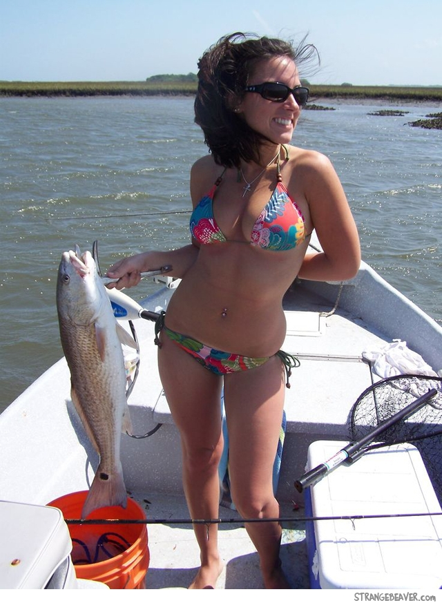 Pretty girl fishing