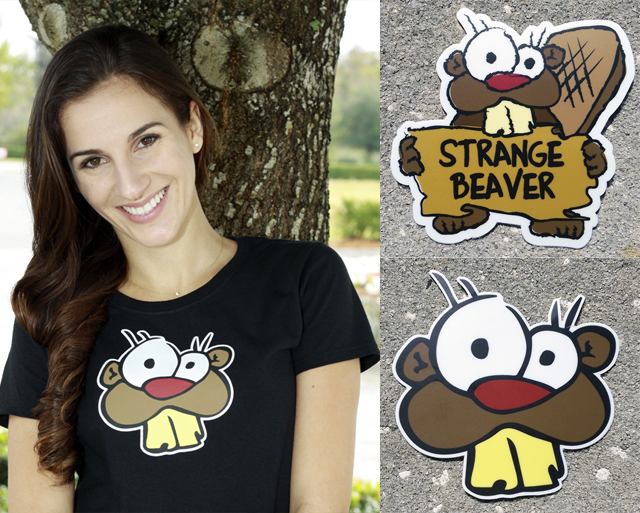 Free Strange Beaver stickers and shirt