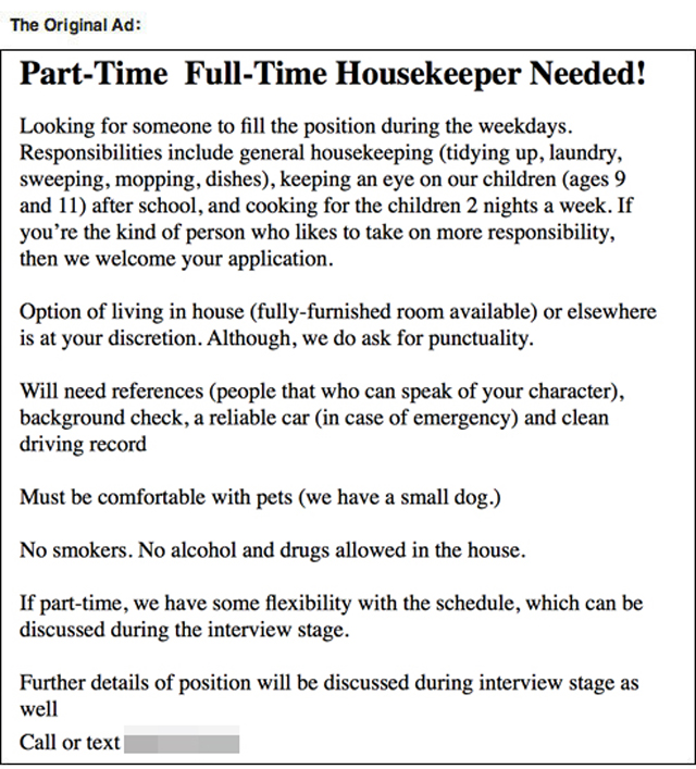 Text Trolling The Housekeeper Ad