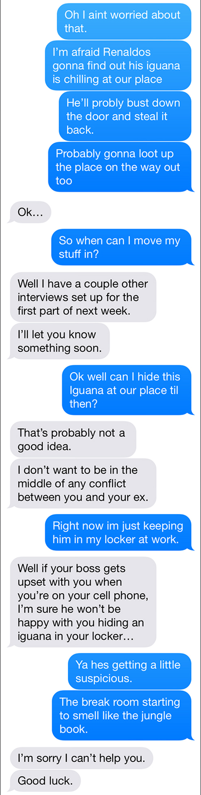 Text Trolling The Roommate Ad- The Tale Of The Iguana