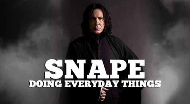 Cardboard Snape Doing Everyday Things