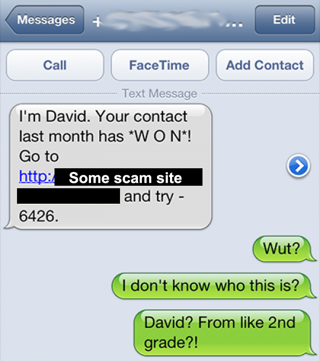 Text Trolling The Contest Spammer