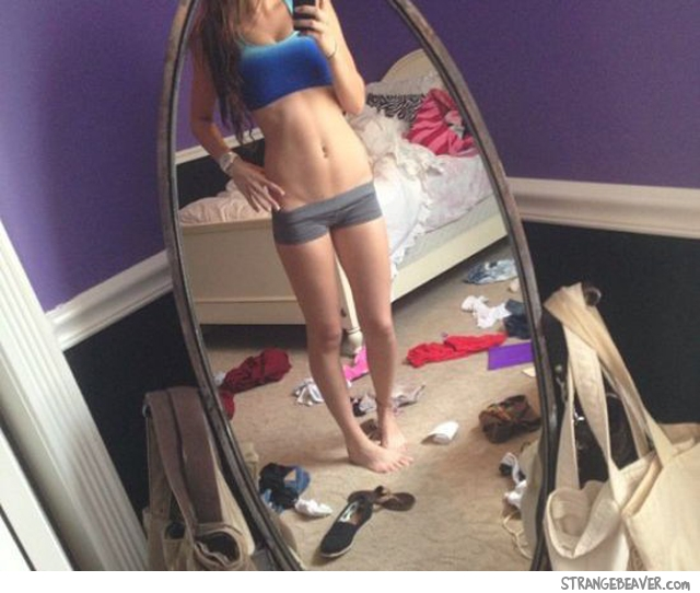 girl in a messy room
