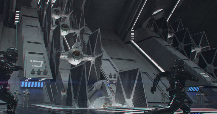 The force awakens tie fighter hanger concept art