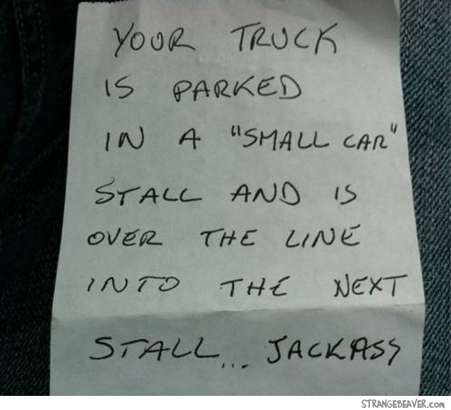 Notes for bad parking