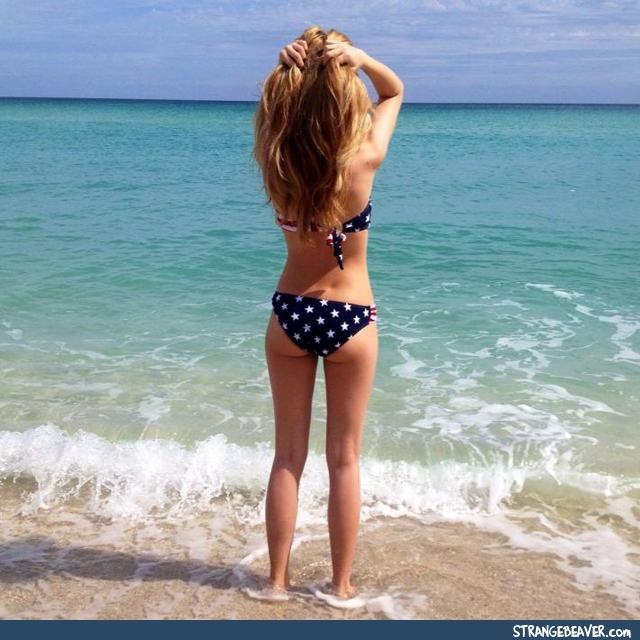 Girl wearing American flag
