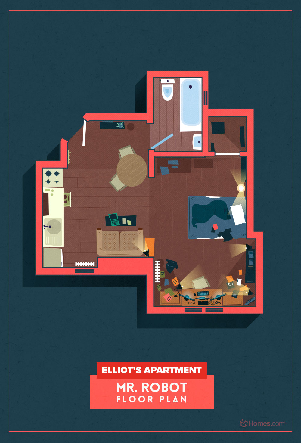 Floor Plans Of Popular TV Show Homes - Mr Robot