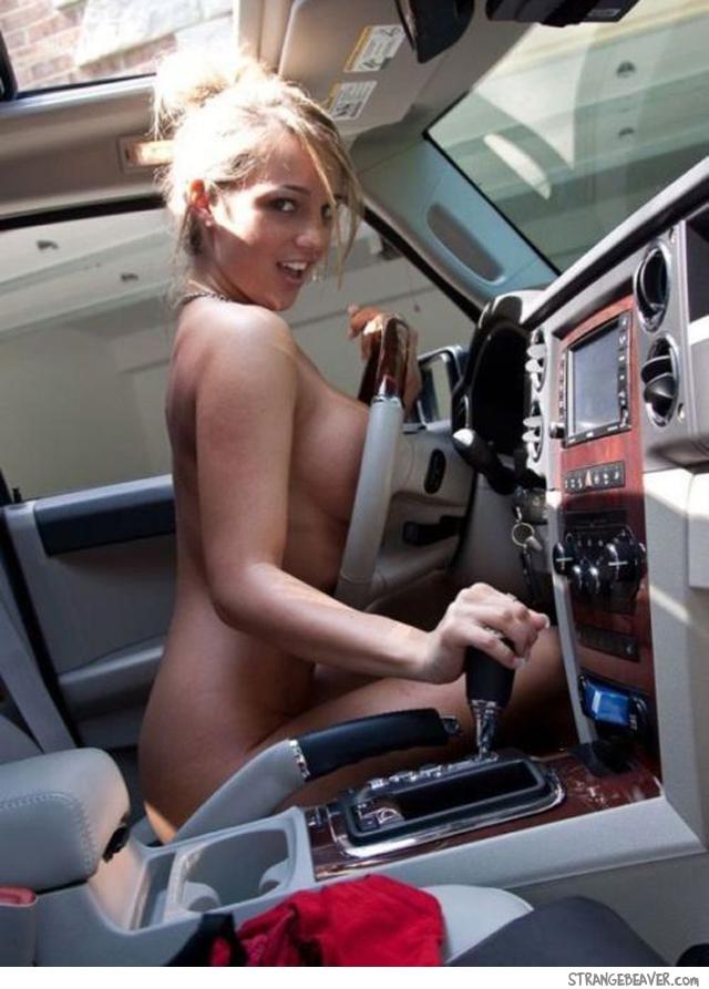 Cute girl in car