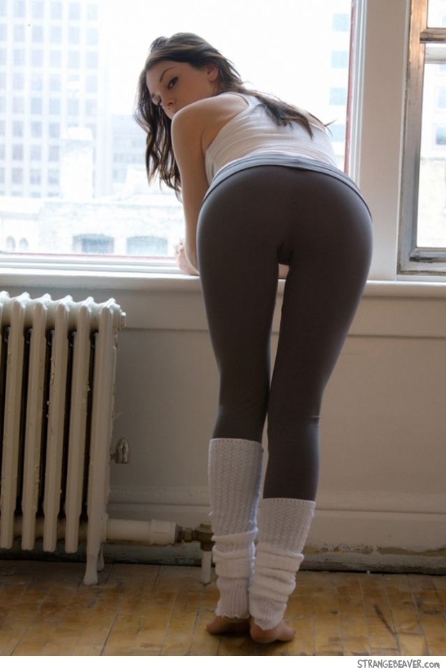 Cute girl in yoga pants