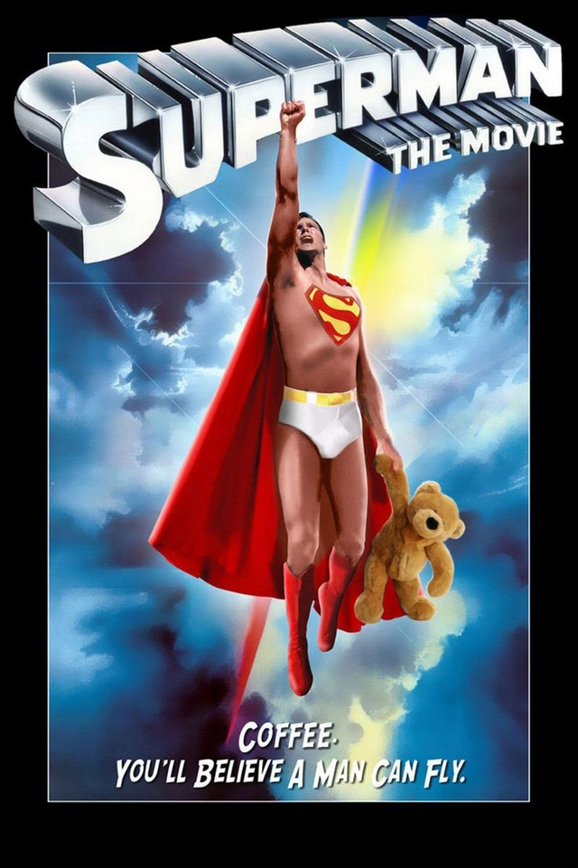 Superman with coffee movie poster